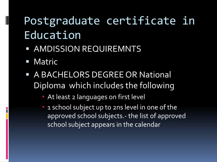 Postgraduate certificate in Education