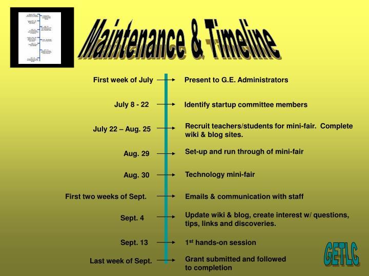 Maintenance & Timeline