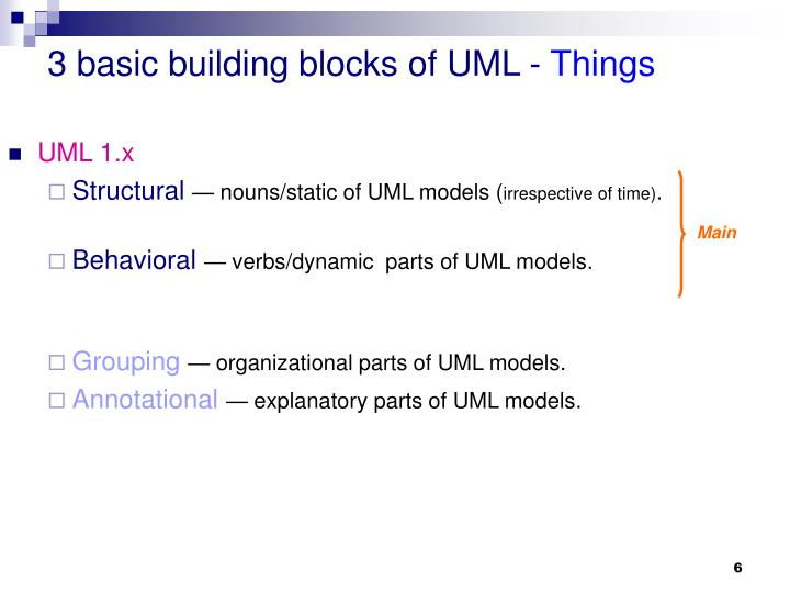 3 basic building blocks of UML -