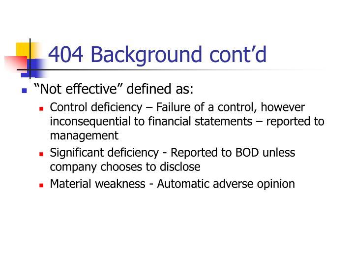 404 Background cont'd