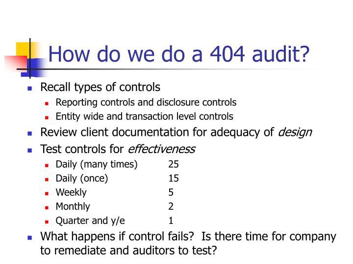 How do we do a 404 audit?