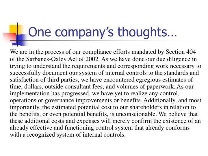 One company's thoughts…