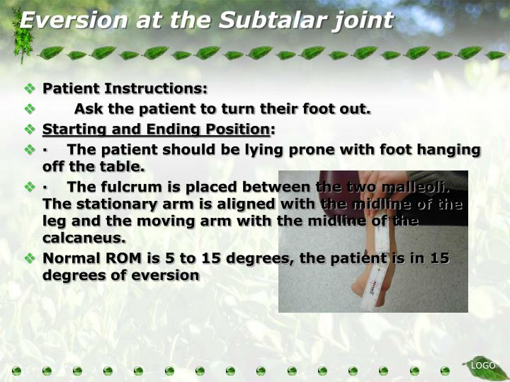 Eversion at the Subtalar joint