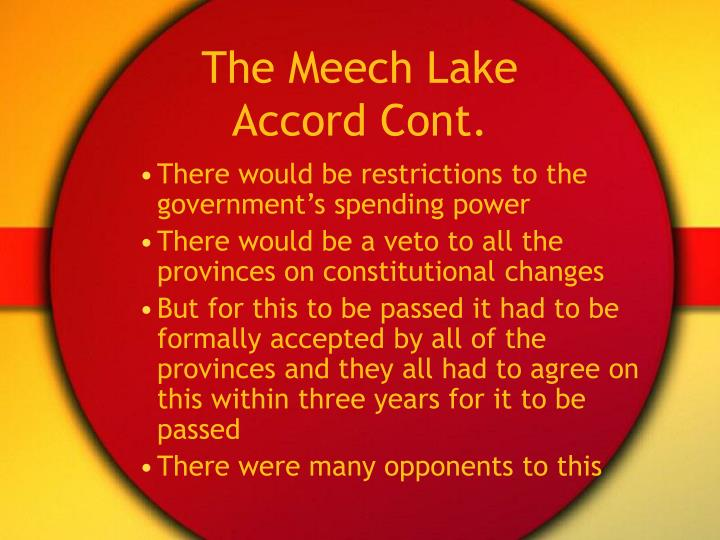 The Meech Lake Accord Cont.