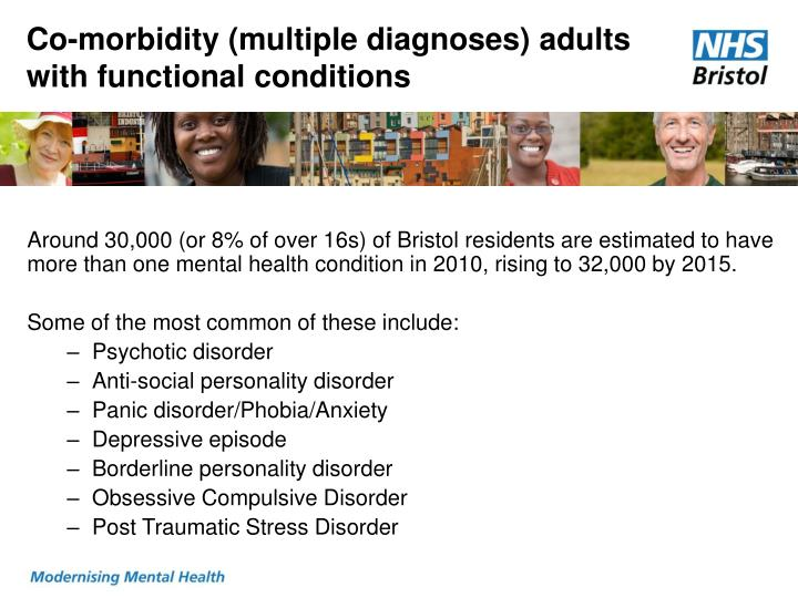 Co-morbidity (multiple diagnoses) adults with functional conditions
