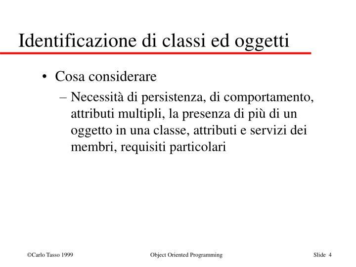 Identificazione di classi ed oggetti