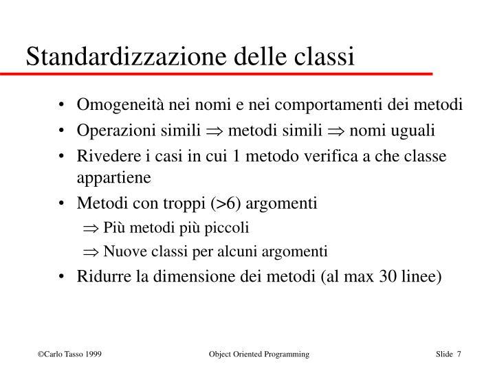 Standardizzazione delle classi