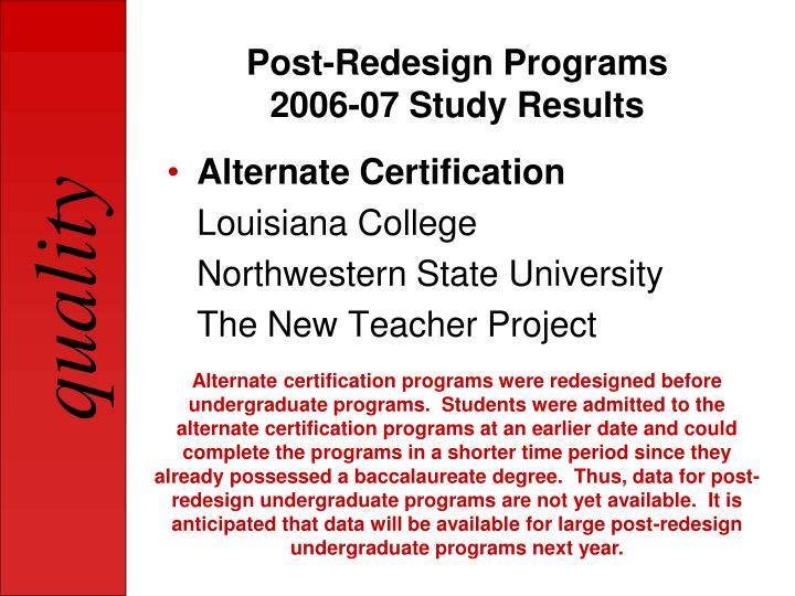 Post-Redesign Programs