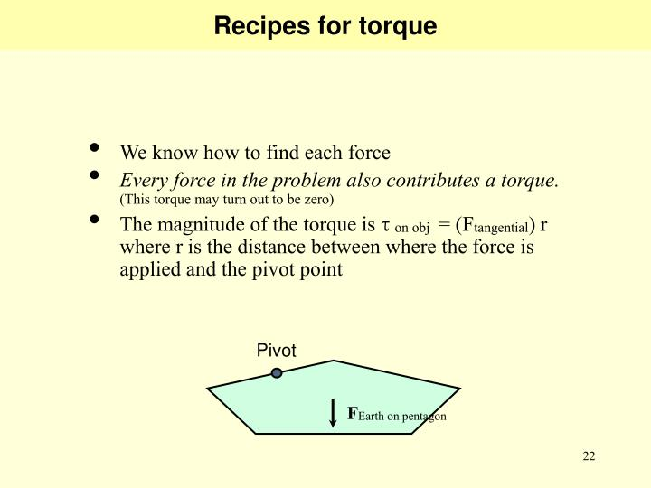 Recipes for torque