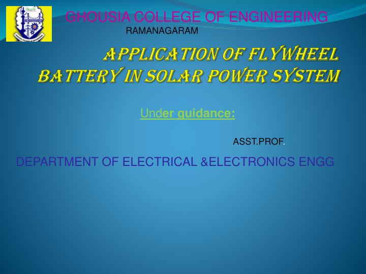 Application of flywheel battery in solar power system
