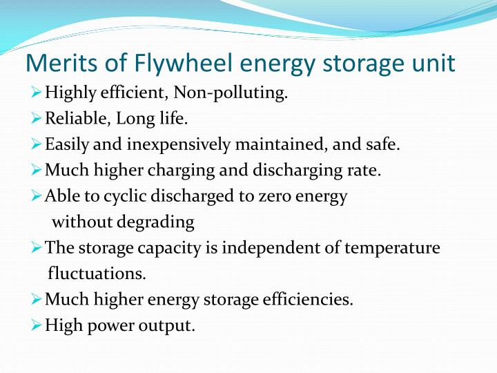 Merits of Flywheel energy storage unit