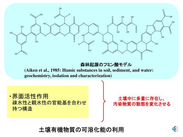 森林起源のフミン酸モデル