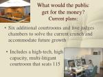 what would the public get for the money current plans