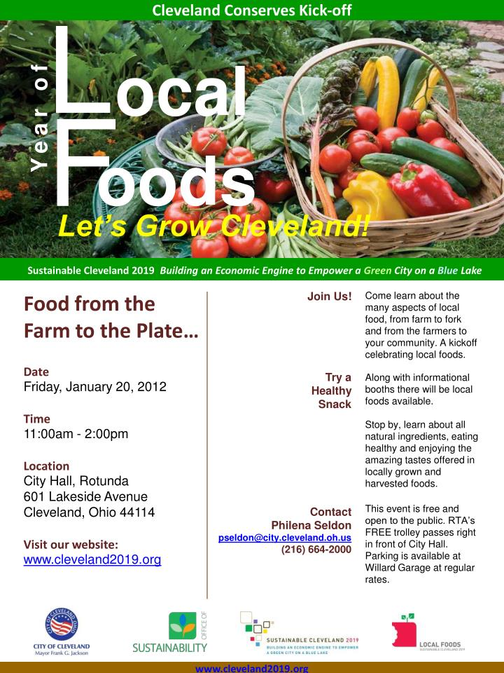 Food from the farm to the plate date friday january 20 2012 time 11 00am 2 00pm location