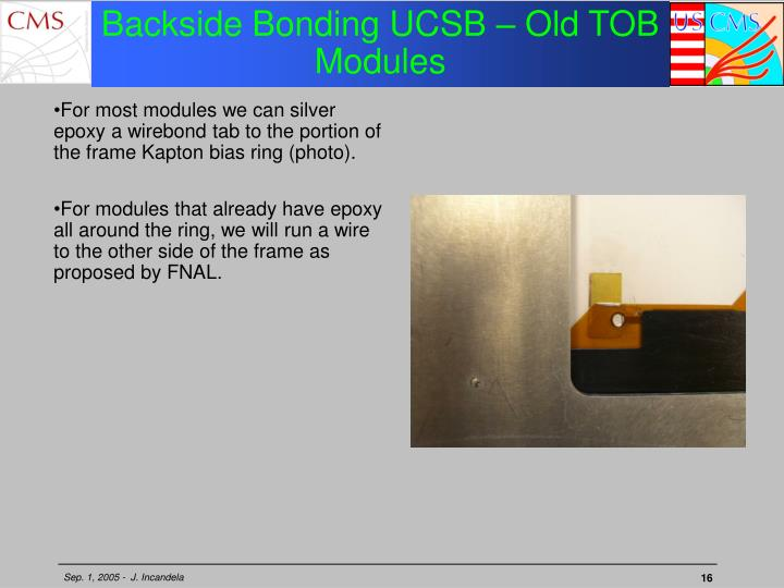 Backside Bonding UCSB – Old TOB Modules