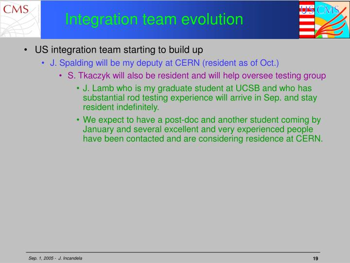 Integration team evolution