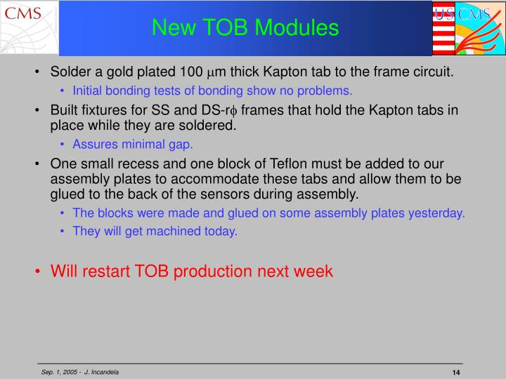 New TOB Modules