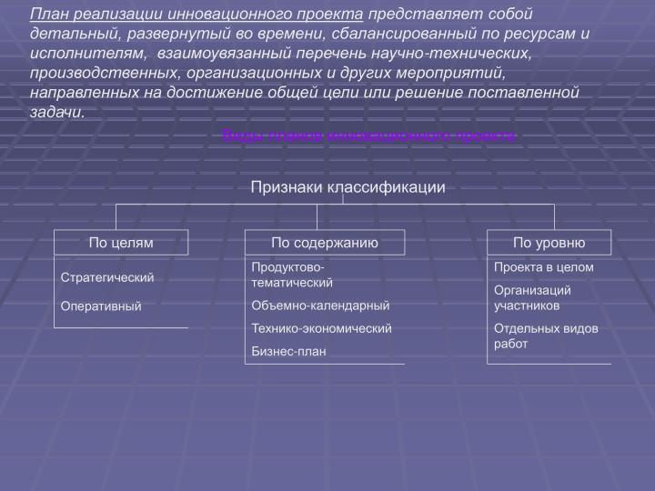 План реализации инновационного проекта