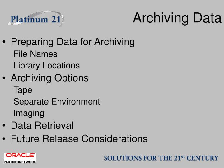 Archiving Data