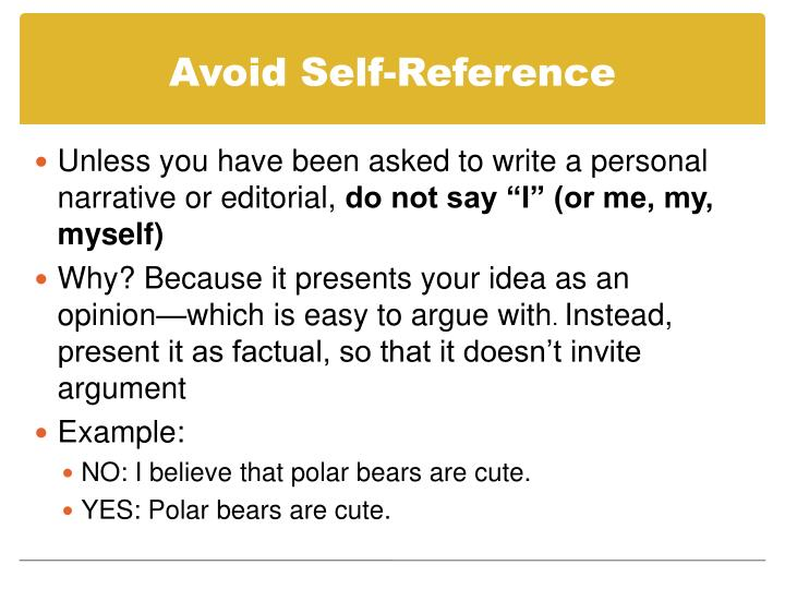 Avoid Self-Reference
