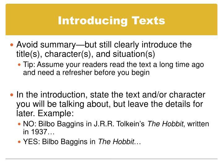 Introducing Texts