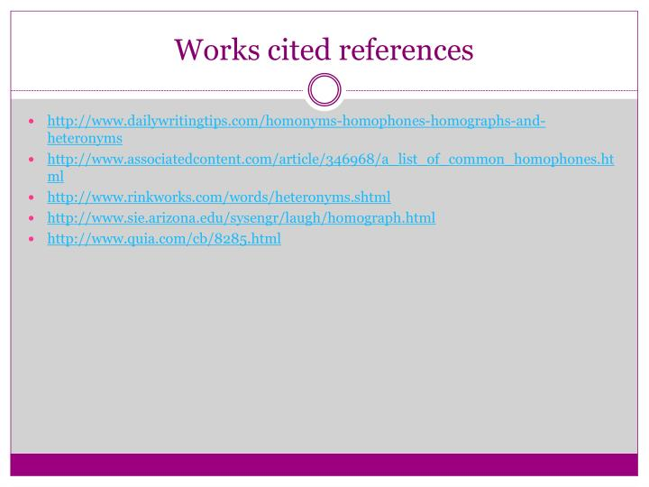 Works cited references