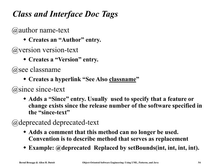 Class and Interface Doc Tags
