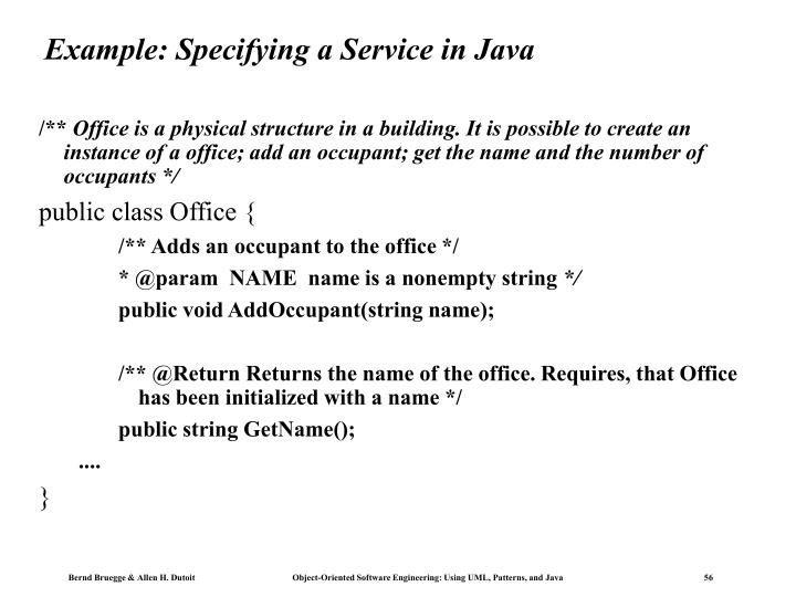 Example: Specifying a Service in Java