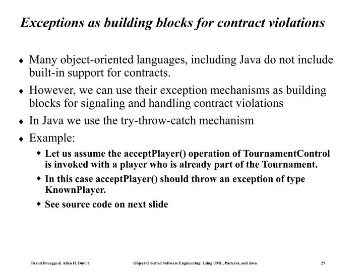 Exceptions as building blocks for contract violations