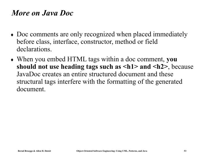 More on Java Doc