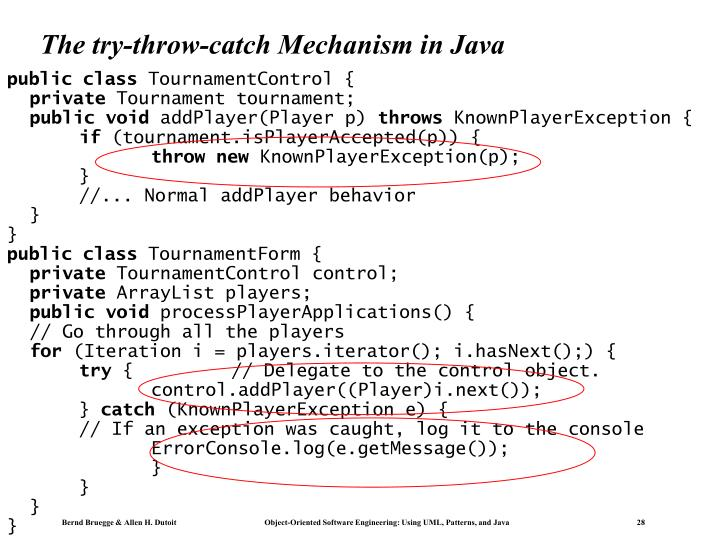 The try-throw-catch Mechanism in Java