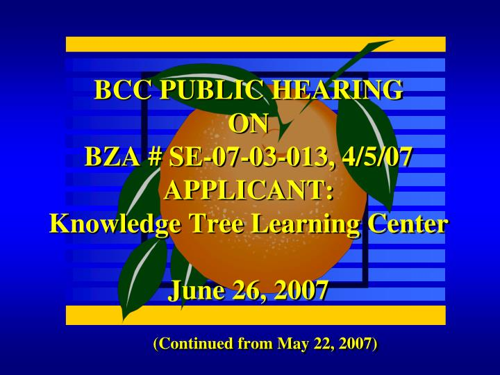 BCC PUBLIC HEARING