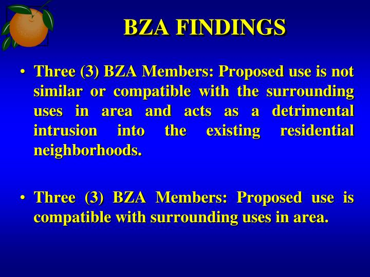 BZA FINDINGS