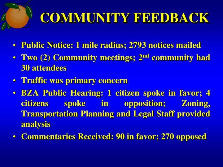 COMMUNITY FEEDBACK