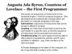 augusta ada byron countess of lovelace the first programmer