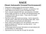 sage semi automatic ground environment