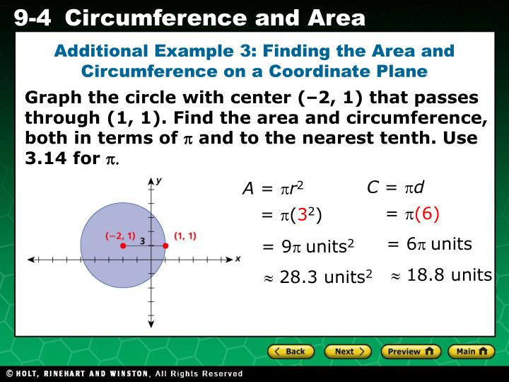 Additional Example 3: Finding the Area and Circumference on a Coordinate Plane