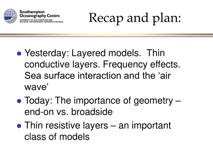 Recap and plan: