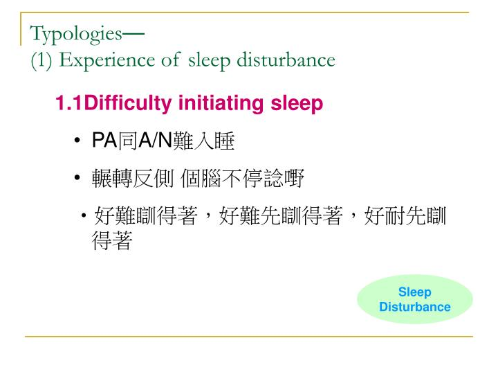 1.1Difficulty initiating sleep