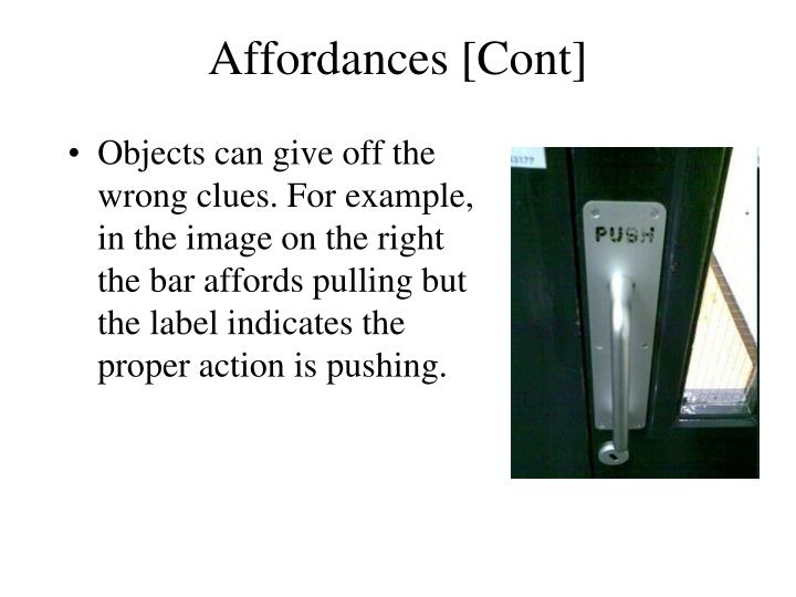Affordances [Cont]