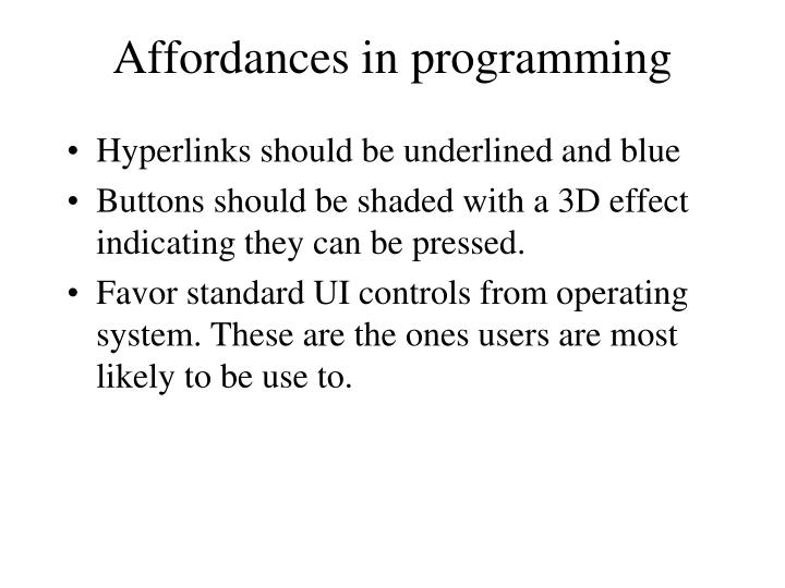 Affordances in programming