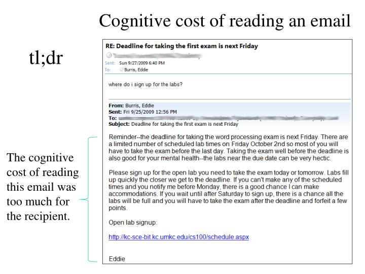 Cognitive cost of reading an email