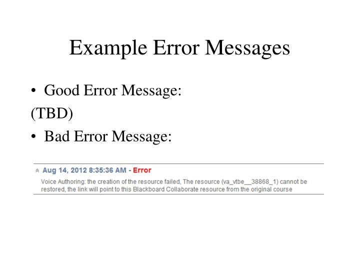 Example Error Messages
