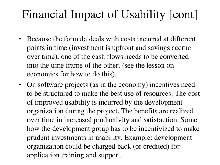 Financial Impact of Usability [cont]