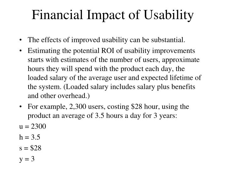 Financial Impact of Usability