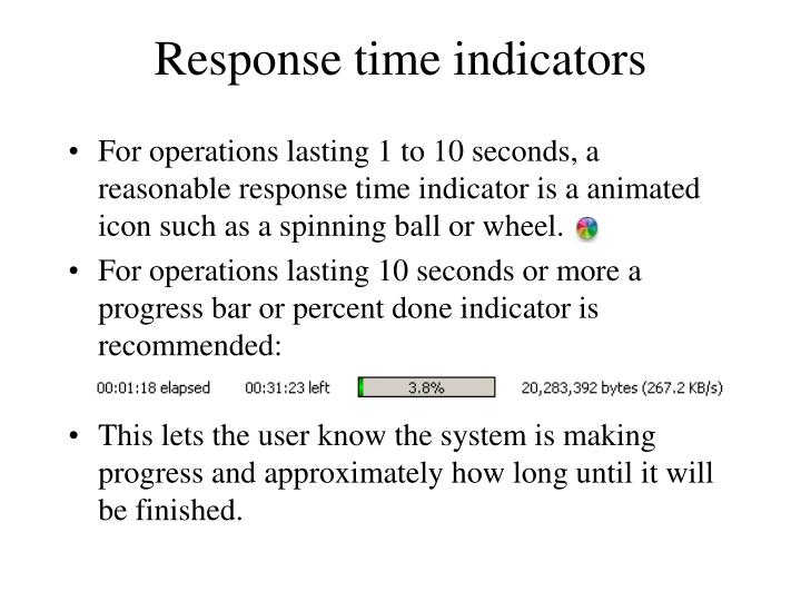 Response time indicators