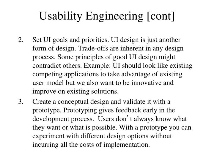 Usability Engineering [cont]
