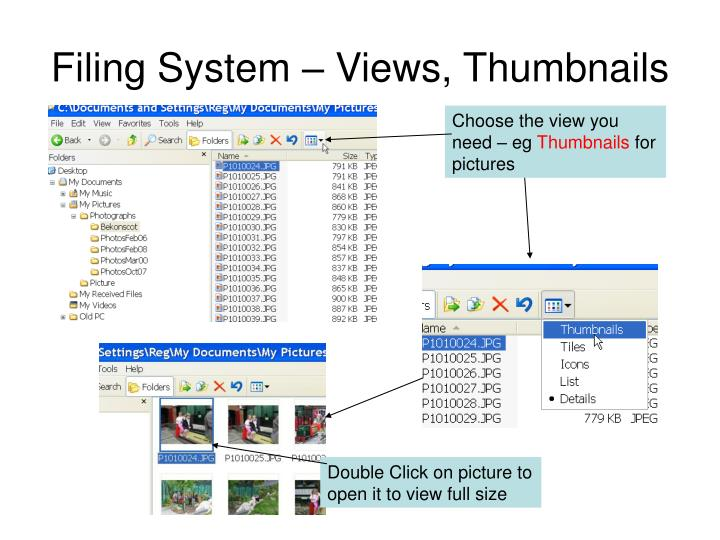 Filing System – Views, Thumbnails