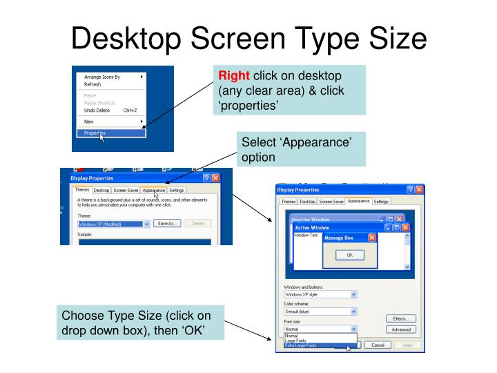 Desktop Screen Type Size