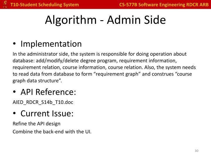 Algorithm - Admin Side